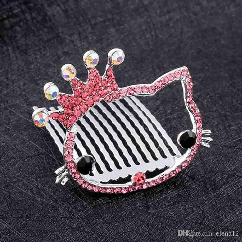 Lindo gato cristal joyas para el cabello Boda Tiara Diamante Plateado Cristal Perla del pelo Peines Horquillas Horquillas Joyería nupcial Accesorios 120016