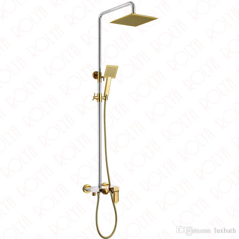 Rolya Golden / White / Black / Chrome Exposed Luxury Bathroom Shower Set Bath Bath Faucet