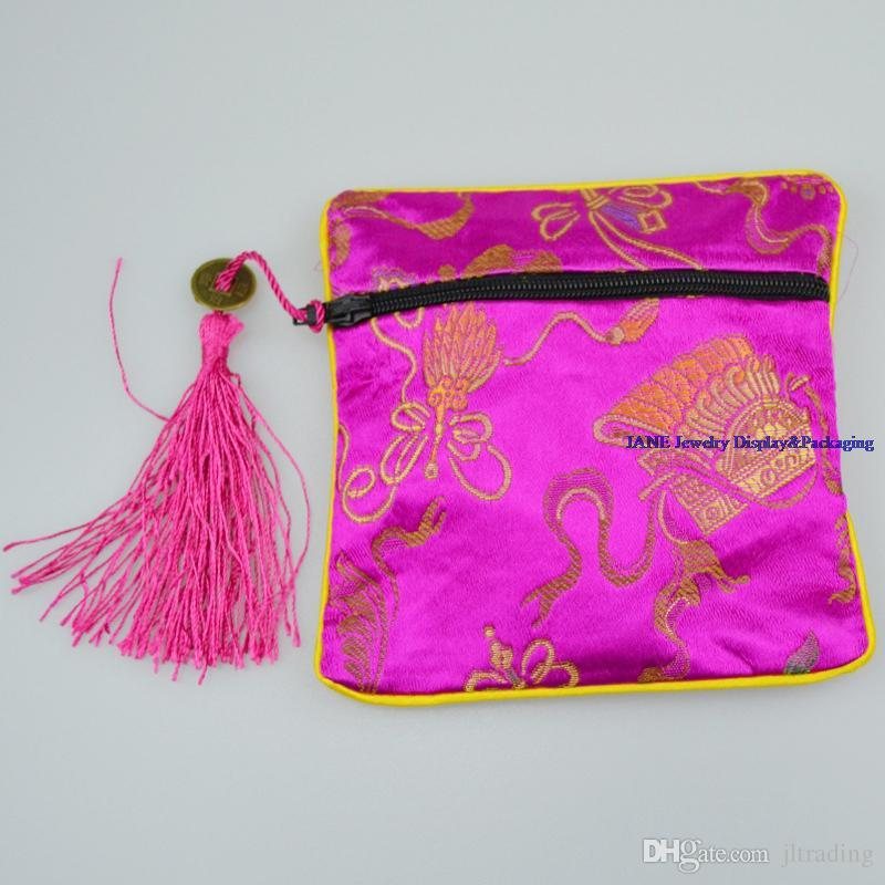 High Quality Square Chinese Silk Jewelry Display Packaging Pouch Zipper Wedding Party Favor Gift Bag