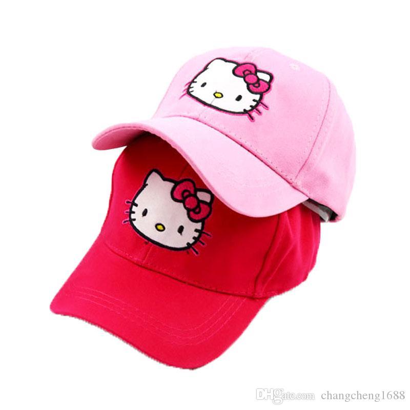 f4ea88d6437 2019 Girls Ponytail Baseball Hat Solid Printed Cotton Hat Adjustable Hello  Kitty Baseball Caps Kids Spring Summer Girl Baseball Cap Child Cap From ...