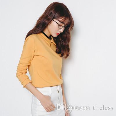 Este novo estilo de moda feminina de lazer durante todo o jogo magro de manga comprida T-shirt de lapela T-shirt das senhoras T-shirt, estilo elegante e parece ser bom