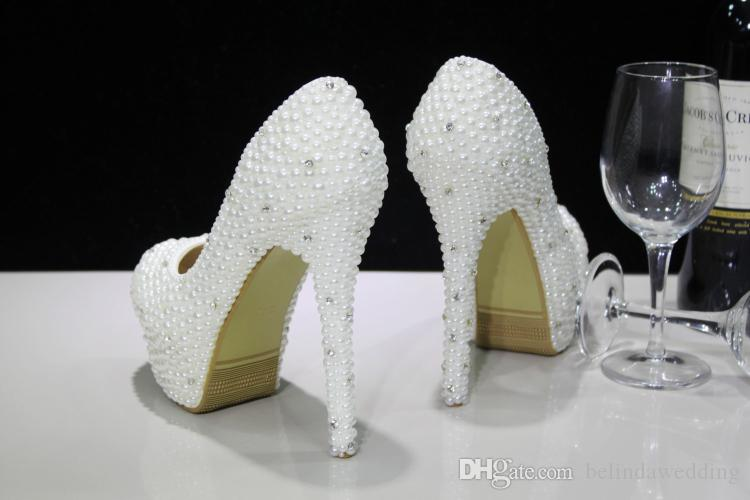 Fashion Luxurious Pearls Crystals Wedding Shoes Custom Made Size 11 cm High Heel Bridal Shoes Party Prom Women Shoes