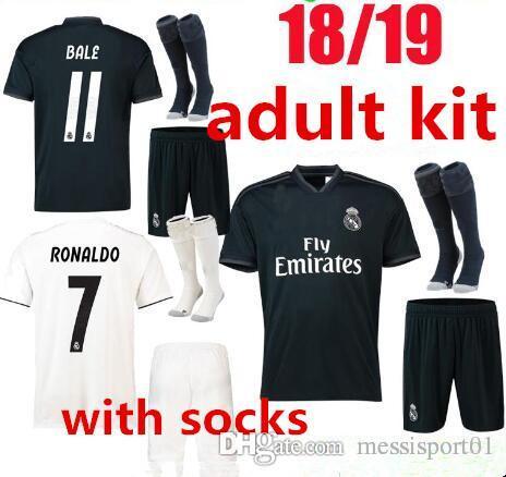 113bcfa2668 2018 New 2018 2019 Real Madrid Soccer Jersey Adult Kit Home Away 18 19  RONALDO MODRIC ISCO RAMOS Asensio Football Shirt Full Kit With Socks From  ...