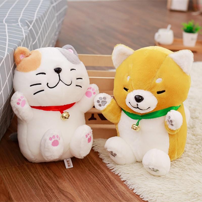 2019 30cm Cute Shiba Inu Dog Lucky Cat Plush Toys Soft Stuffed