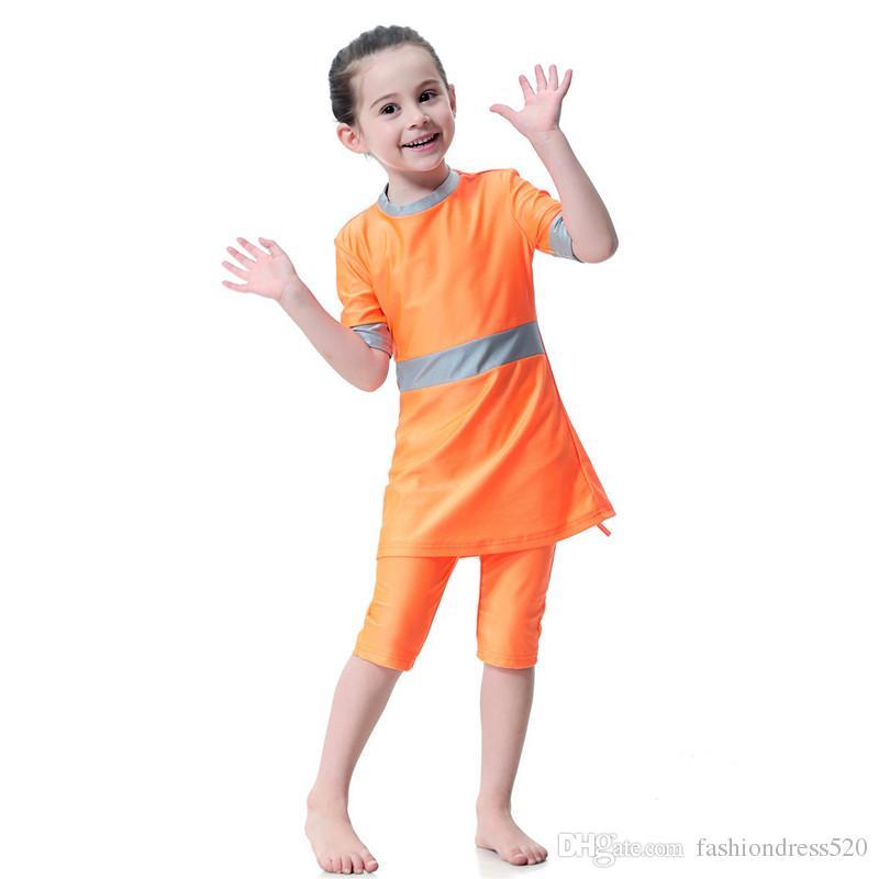 64b225cef9145 2019 2018 Summer Beach Bathing Suit Modest Two Piece Muslim Swimwear For Girl  Children Swimsuit Arab Swimwears 80cm 160cm From Fashiondress520, ...