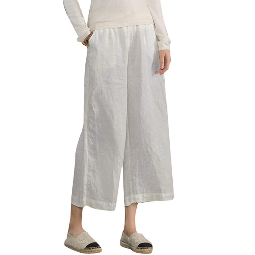 26a182931e622 Compre Pantalones Anchos De Algodón De Lino De Las Mujeres Cintura Elástica  Streetwear Sólido Verano Pantalon Large Femme Casual 5XL Tallas Grandes ...