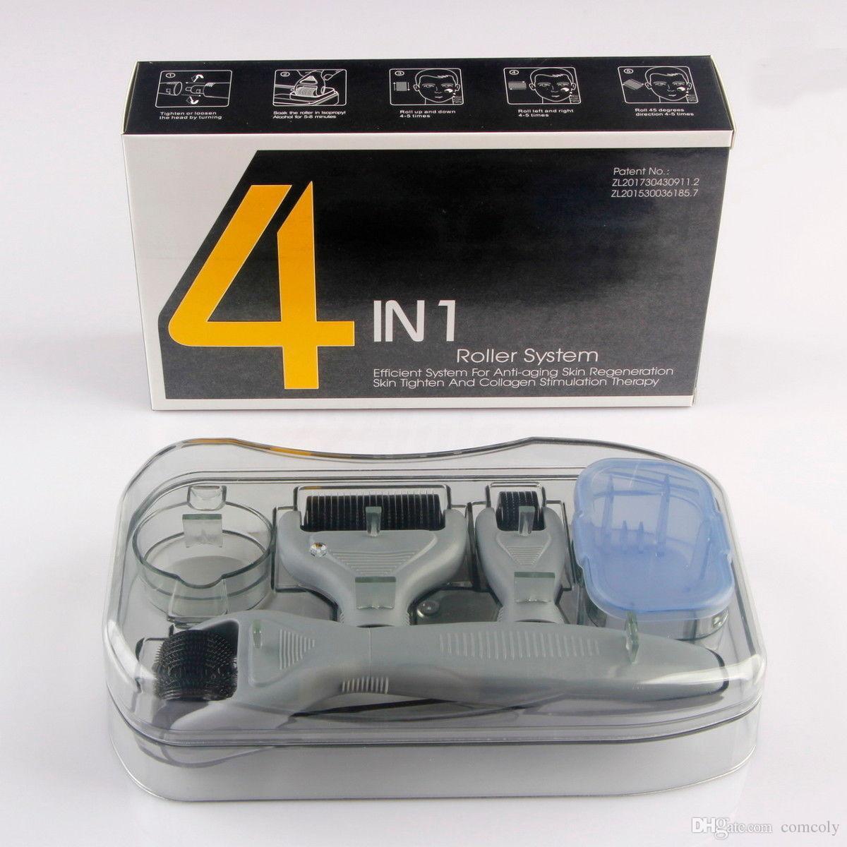 4 في 1 ديرما الأسطوانة مجموعة 0.5 ملليمتر 1.0 ملليمتر 1.5 ملليمتر مايكرو إبرة العناية بالبشرة إحياء حقيبة السفر حزمة مختومة