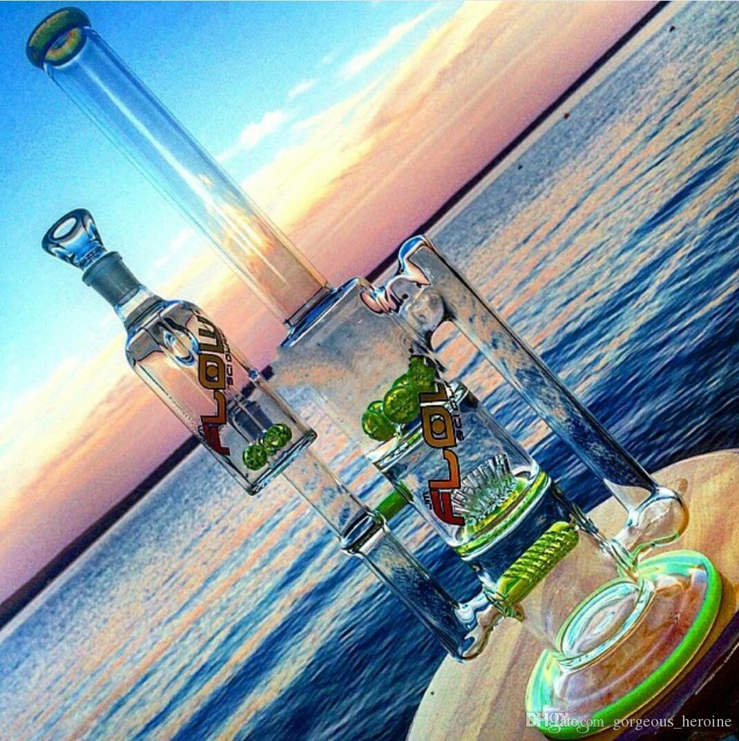 2018 new design Fashion Glass smoking pipes water pipes glass bongs with sprinkle perc and round liner perc and gear perc recycler oil rigs