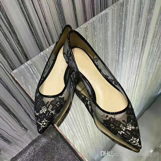 Роскошные кружевные туфли Брендовые дизайнерские мокасины Женские сандалии Сексуальные кружевные туфли на низком каблуке с острым носом Женская обувь Элегантная черная банкетная обувь 35-40