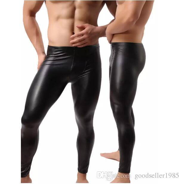 cb841550b8a627 Acquista i Moda Uomo Nero Faux Leather Pantaloni Pantaloni Lunghi Sexy E  Novità Skinny Muscle Collant Mens Leggings Slim Fit Uomo Aderente Pantaloni  A ...