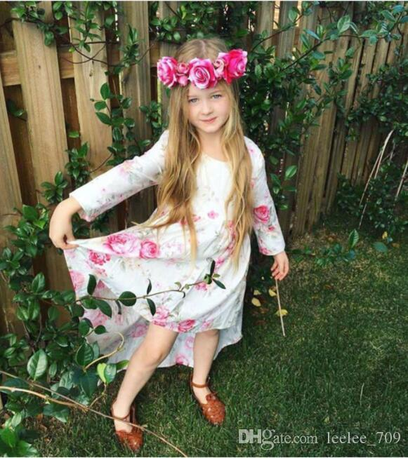 2018 INS Summer Spring clothes Baby girl Toddler Rose Floral Dress Flower Dress Sexy Hollow Back irregularly tailed dress Princess Pink
