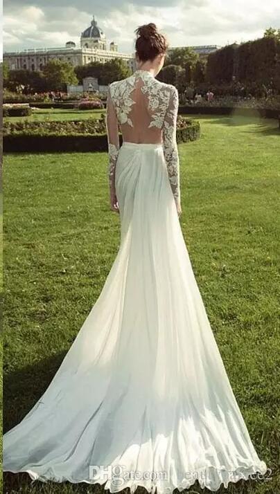 Vintage Boho Summer Lace Chiffon Dresses 2018 Sheer Long Sleeves Split Bridal Gowns Sheath High Neck Backless Robe de soriee
