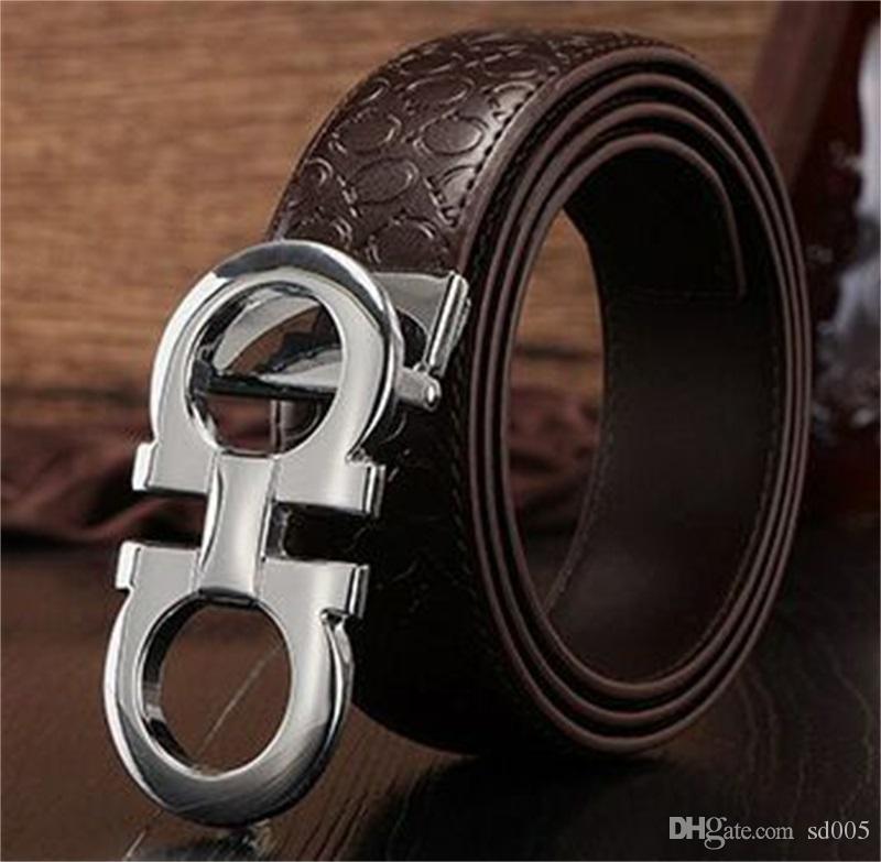 Творческий коровьей ремень для мужчин мода Mbossing пояс металл автоматический 8 формы пряжки дизайн женщины кожаный ремень новое прибытие 15zl Y