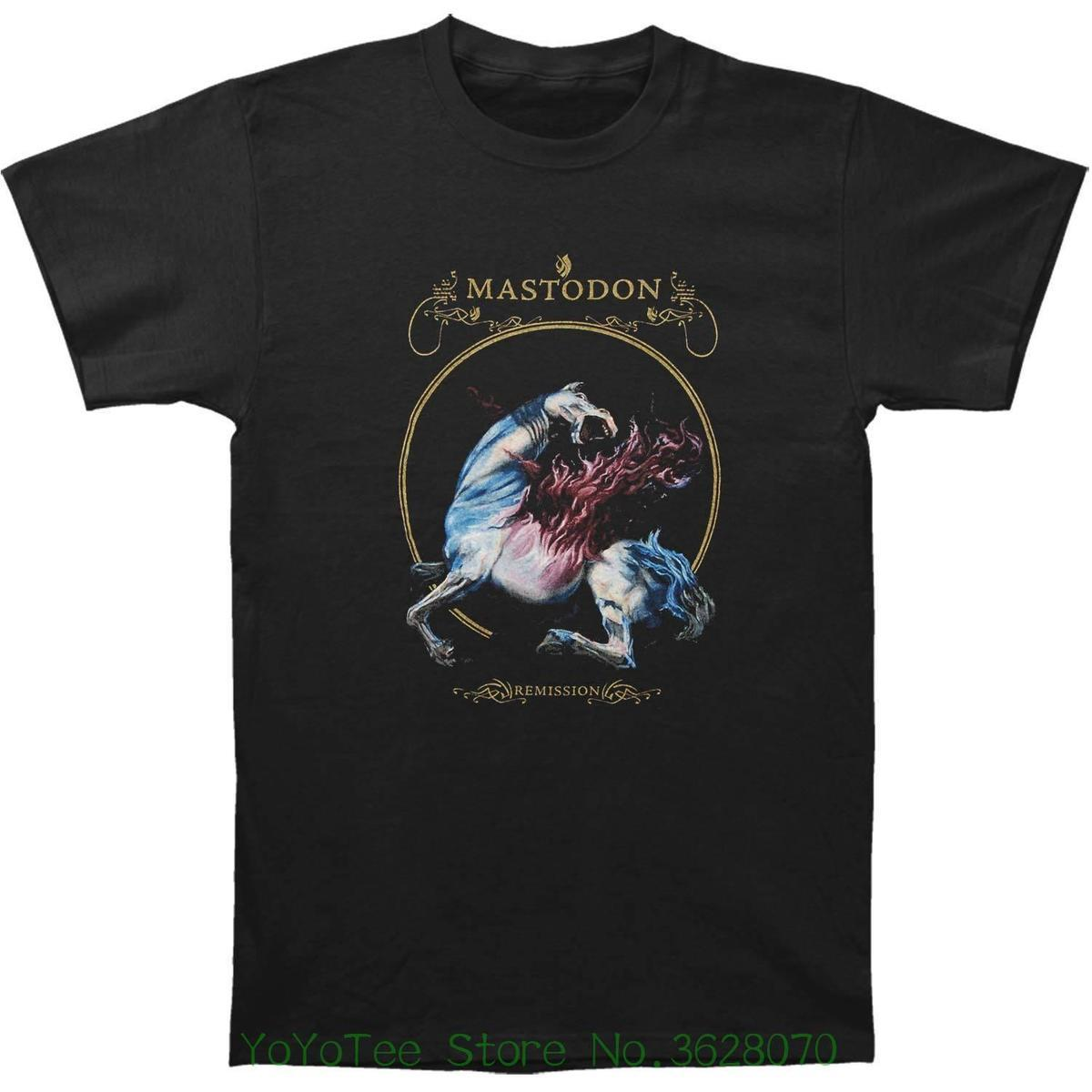 Em torno do pescoço Pop adolescente Top Tee Mastodon Men '; S Remixion Black Camiseta Xx - Preto Grande