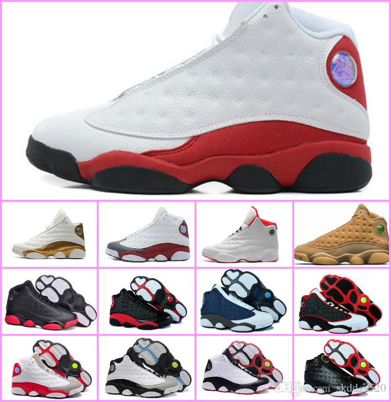 4006ed444f2776 Cheap 2018 High Quality Shoes 13 XIII 13s Men Basketball Shoes Women Bred  Black Brown White Hologram Flints Grey Sports Sneakers Size5.5 13 Mens Shoes  ...