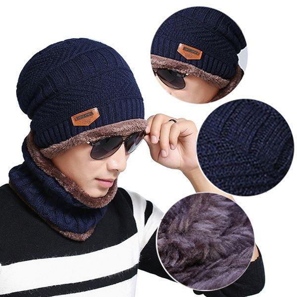 473c9220062 Fashion Beanie Men Winter Warm Faux Fur Lined Baggy Hat Neckerchief Scarf  Cap Beanies For Men Trucker Caps From Dissatisfaction