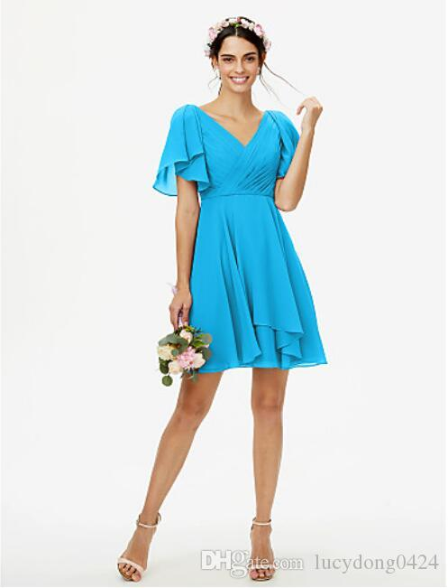 Short Length Modest Chiffon A-Line Beach V-Neck Evening Bridesmaid Dresses With Short Sleeves Beaded Ruched Temple Bridesmaids Dress