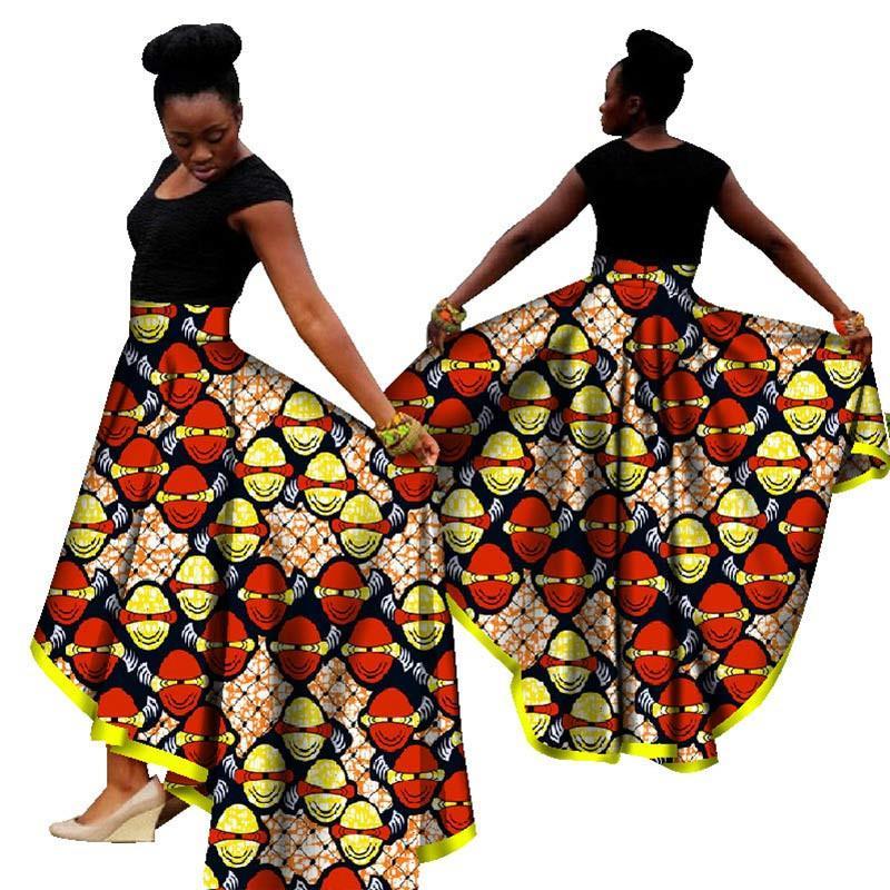 a588946d6ef 2019 Fashion Women African Print Long Skirt Ankara Dashiki High Waist  Asymmetrical Maxi Long Skirt Ladies Jupe Longue Femme From Edward03