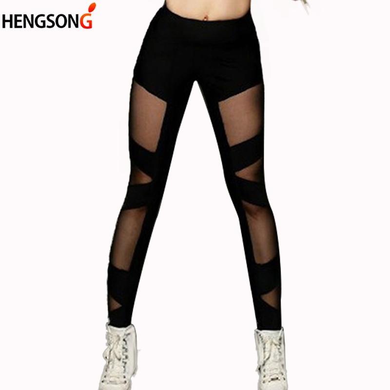 deb4cac3cf Mesh Breathable Women Leggings Fitness Sports Pants High Waist Push ...