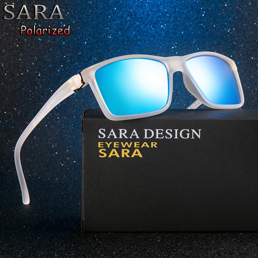 14ef9897ca47a SARA Men Blue Sunglasses Square Women 2018 Polarized Black Frame Mens Sun  Glasses Famous Brands Retro Luxury Designer Brand Discount Sunglasses  Sports ...