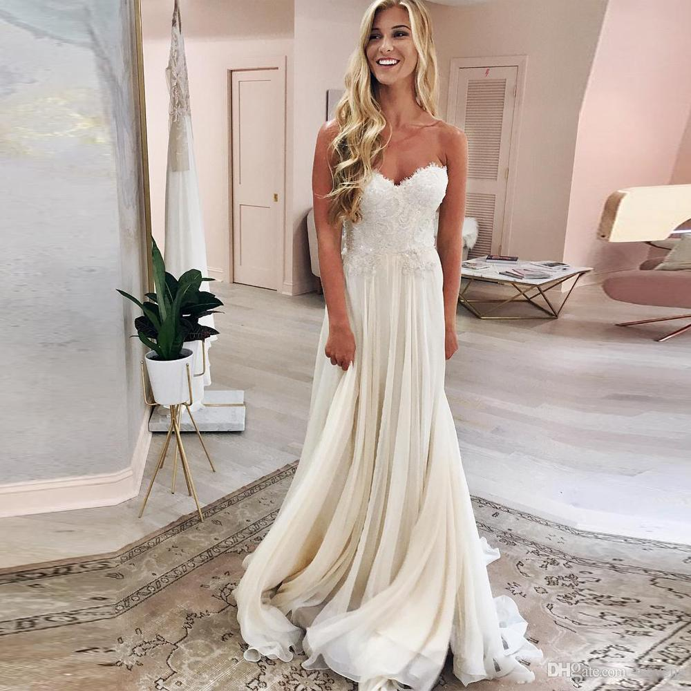 Cheap Wedding Dresses To Rent: Discount Simple Ivory A Line Chiffon Wedding Dresses