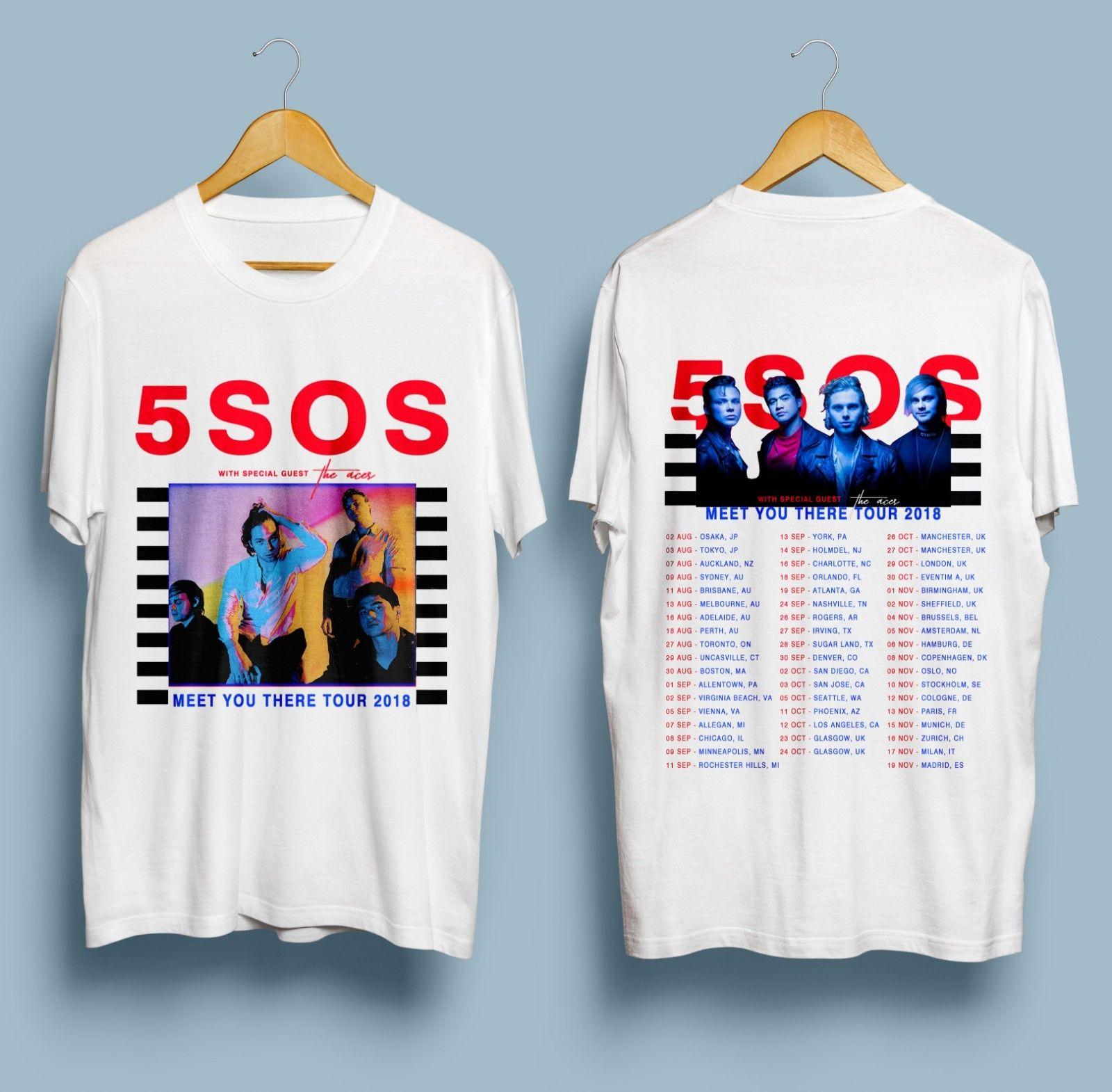 e5cd0caf9a96 New 5 Seconds Of Summer 5SOS T-Shirt Meet You There Tour Dates 2018 ...