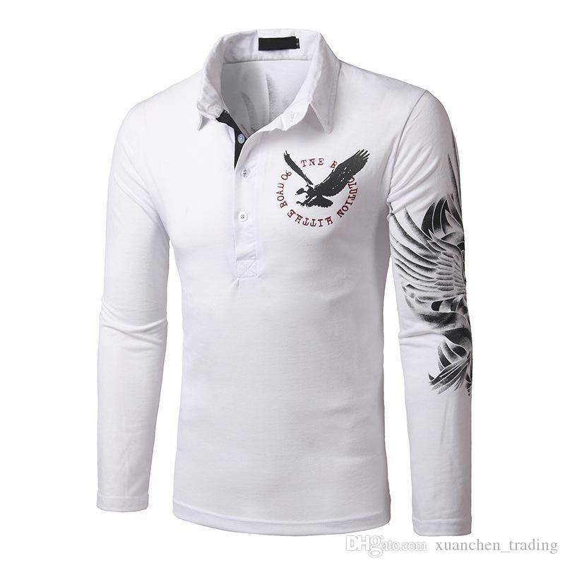 Maglietta da uomo 2018 New Fashion Europa e Stati Uniti Wind Eagle Tattoo Stampa Slim risvolto T-shirt maniche lunghe maschili M-XXXL