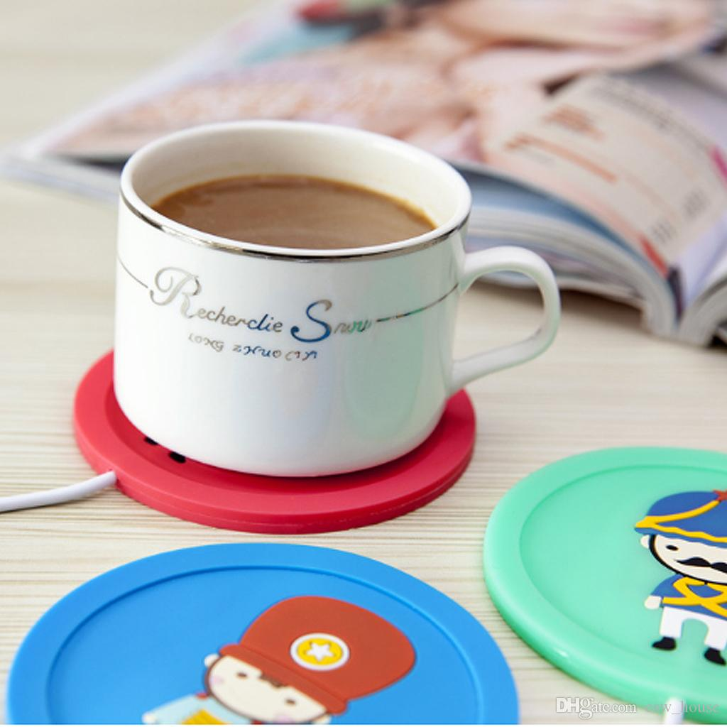USB Cup Pad Warmer Heater Cartoon Silicone Heater for Milk Tea Coffee Mug Hot Drinks Beverage Cup Mat Pad 5V 3.75W