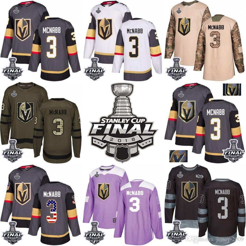 half off 2806d 09aaf 2018 Stanley Cup 3 Brayden McNabb Vegas Golden Knights Green grey USA Flag  Purple Fights Cancer Practice Camo Veterans Day Jerseys