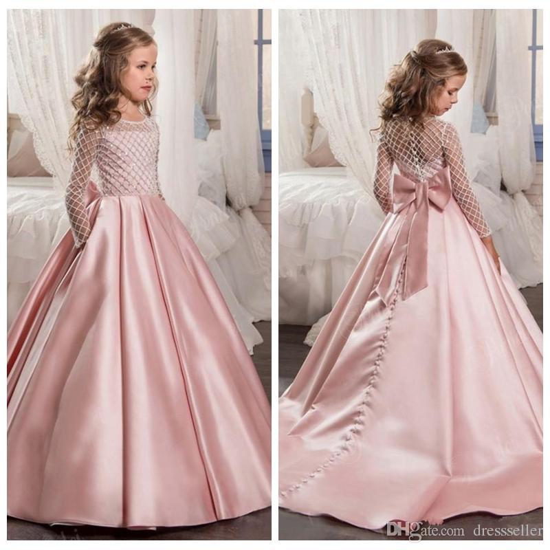 2018 Long Sleeves Flower Girl Dresses Tutu For Girls Cute Formal