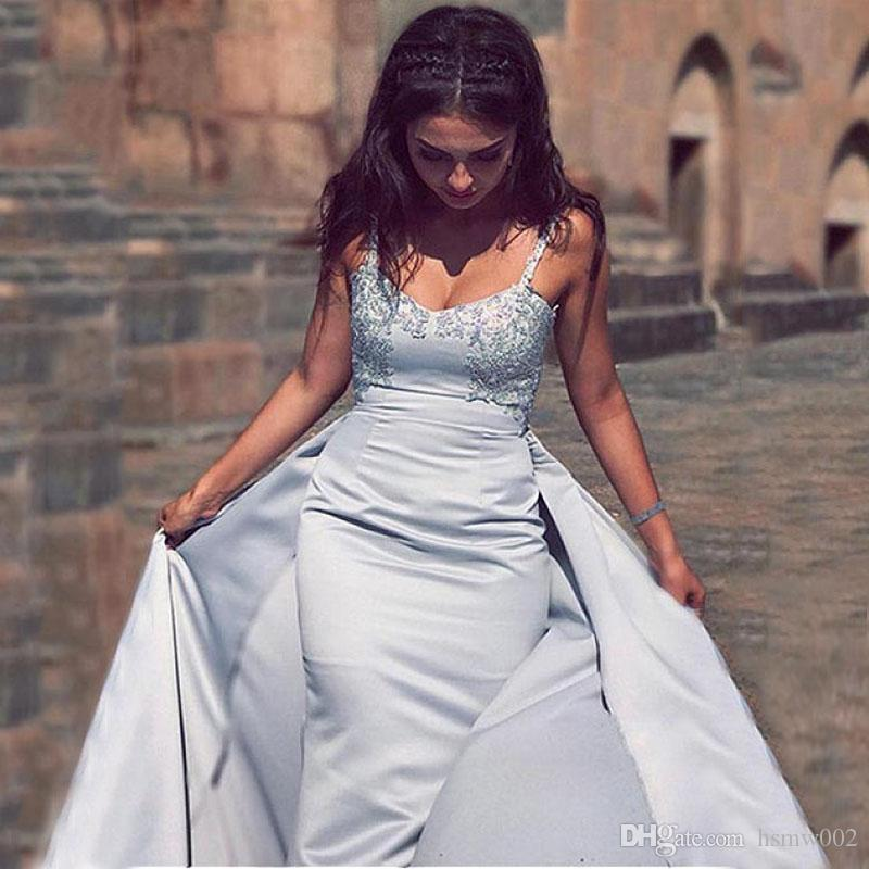 Unique Satin Spaghetti Straps Neckline Sheath Evening Dresses Charming Beaded Lace Appliques Detachable Prom Party Dresses Custom Made