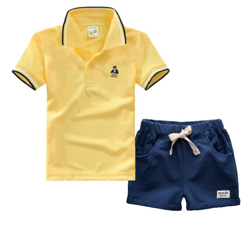 a2ca6480 High Quality Boys Summer Clothes Sets Cotton Short Sleeve T shirt +  Trousers 2pcs Newborn Baby Boys Girls Clothing Sets Y1892707