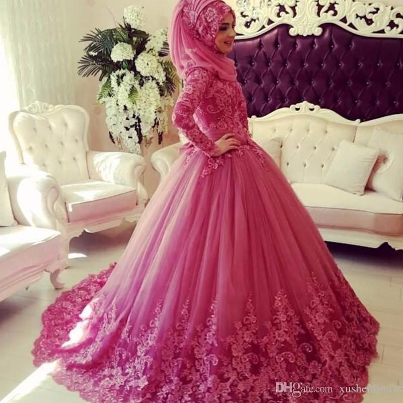 Fuchsia Saudi Arabia Muslim Engagement Dresses Glamorous Fluffy Ball Gown Evening Dresses High Neck Long Sleeve Lace Appliques Prom Dress