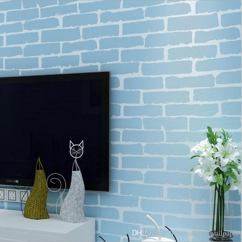 Großhandel Moderne Rustikale Grau Weiß Brick Wallpaper Roll ...