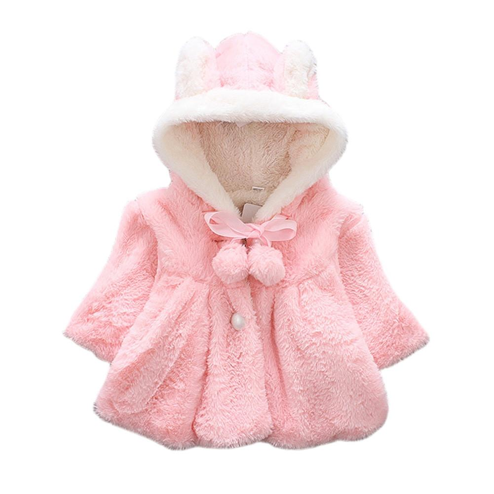 61f2a0135 Cute Baby Girl Fur Coat Solid Soft Winter Warm Hooded Coat Jacket ...