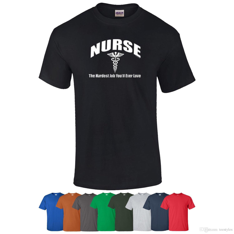 3a238f353 Nurse The Hardest Job You'Ll Ever Love Nursing T-Shirt Graphic Printed Tee  Shirt Design T Shirt For Men Creative Short Sleeve Fashion Custom