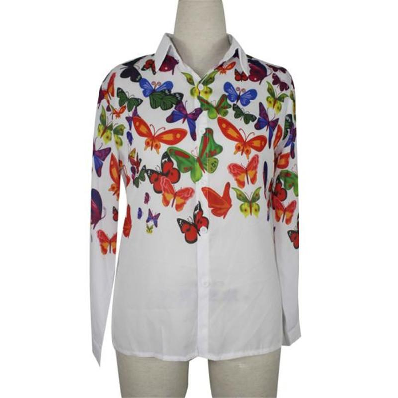 184b0a26 2019 2019 Women Loose Chiffon Shirts Butterfly Pattern Long Sleeve Blouse  Ladies Casual Office Wear Tops Blusas From Caicaijin09, $22.04 | DHgate.Com