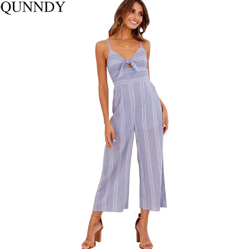 9f8623b6cff 2019 Wholesale Jumpsuit Women Striped Clubwear V Neck Playsuit Sleeveless  Jumper Bodycon Party Overalls Female Summer Backless Romper From  Bclothes002