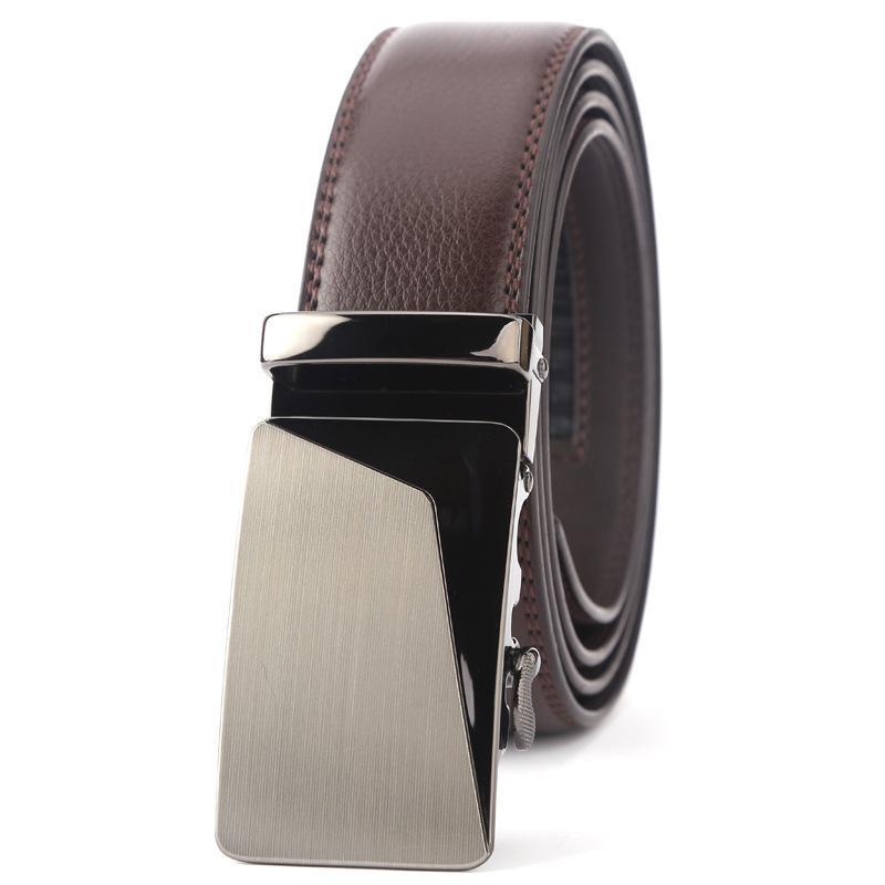 010795cba1383 Ceinture homme en cuir véritable avec ceinture à cliquet et ceinture pour  jeans sans boucle automatique à glissière à boucle coulissante marron