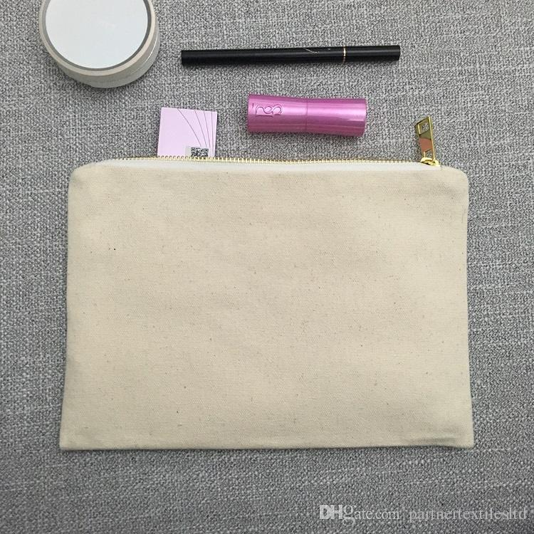 48999f412926 2019 Blank Canvas Makeup Bag Natural Canvas Cosmetic Bag 100% Cotton Toiletry  Bag Large Travel Makeup Case Personalized Bridesmaids Gift Pouch From ...