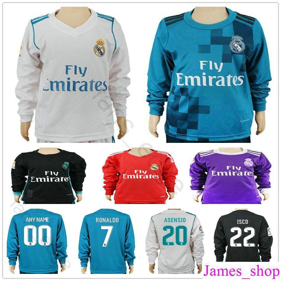 buy popular 58bc8 f3fa9 Kids Real Madrid Long Sleeve Soccer Jerseys Sergio Ramos Ronaldo Kroos  Benzema Bale Marcelo Asensio Isco Modric Youth Football Jersey Shirt