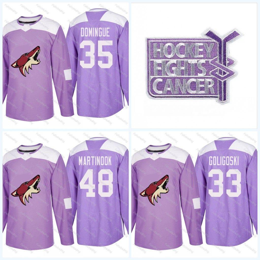 the best attitude 14374 ef556 Youth 25 Nick Cousins Purple Fights Cancer Practice Arizona Coyotes 36  Christian Fischer 33 Alex Goligoski 35 Louis Domingue Hockey Jerseys