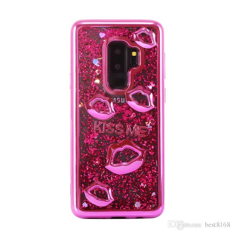 Lujo Lip Metallic Quicksand TPU suave para Galaxy S7 J7 J5 J3 2017 Europa 2016 Kiss Me Love Cromado Bling Liquid Liquid Cubiertas