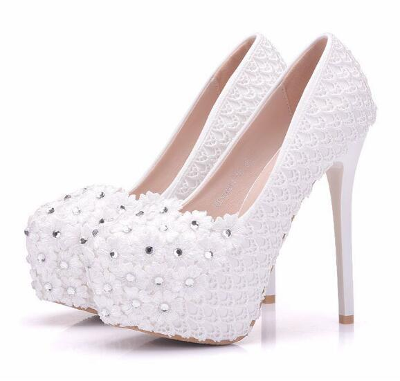Fashion Woman Shoes White Lace Fishnet Crystal FLOWER 14cm High Heeled  Shoes Fine Heel Waterproof Wedding Shoes Large Size 34 41 Munro Shoes Vegan  Shoes ... 3048fa4d6e60