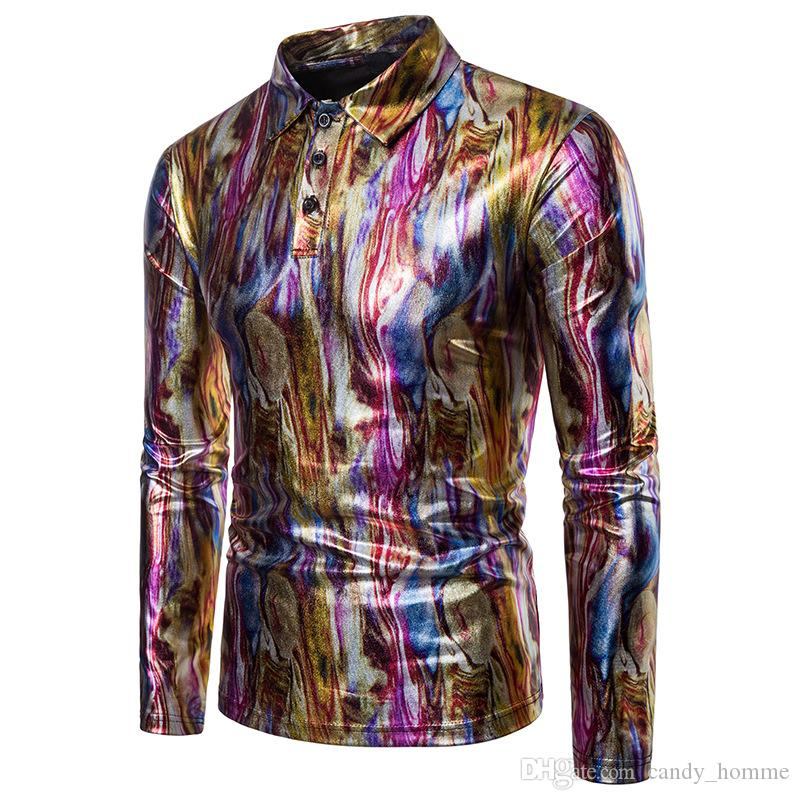 Camouflage Coated Metallic Night Club Wear Shirt Men Long Sleeve Halloween Pullover Mens Dress Shirt Shiny Elastic Chemise Homme