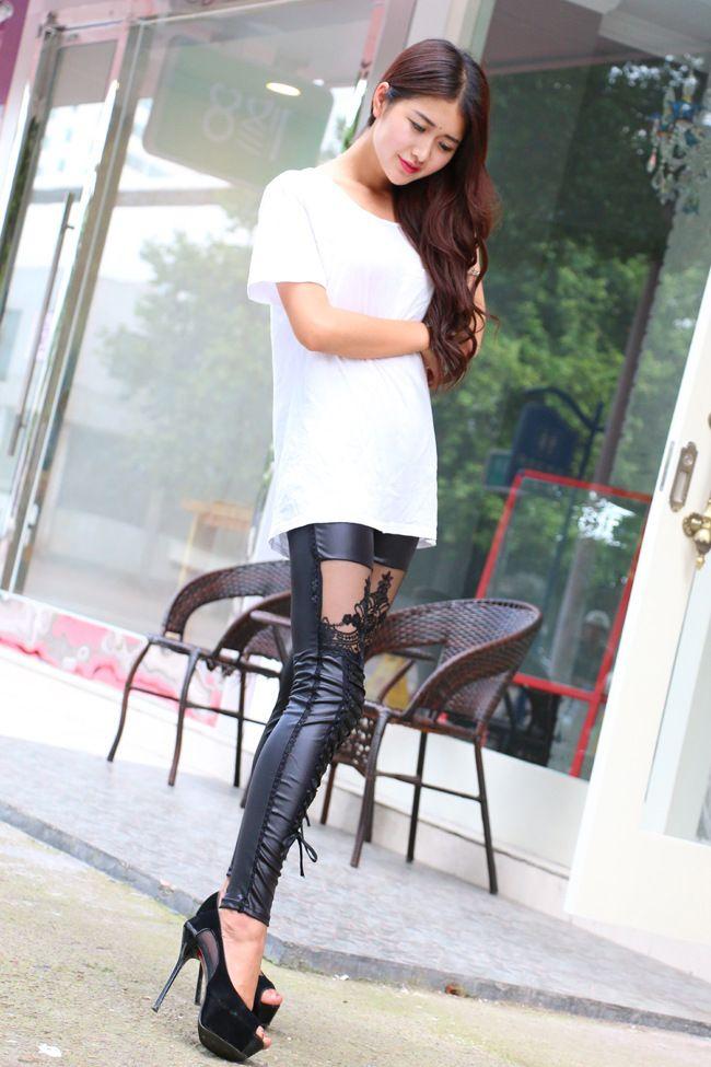 Hohe qualität großhandel punk schwarz kunstleder gothic spitze legging frauen verband schnüren leggings billig heiße hosen hose