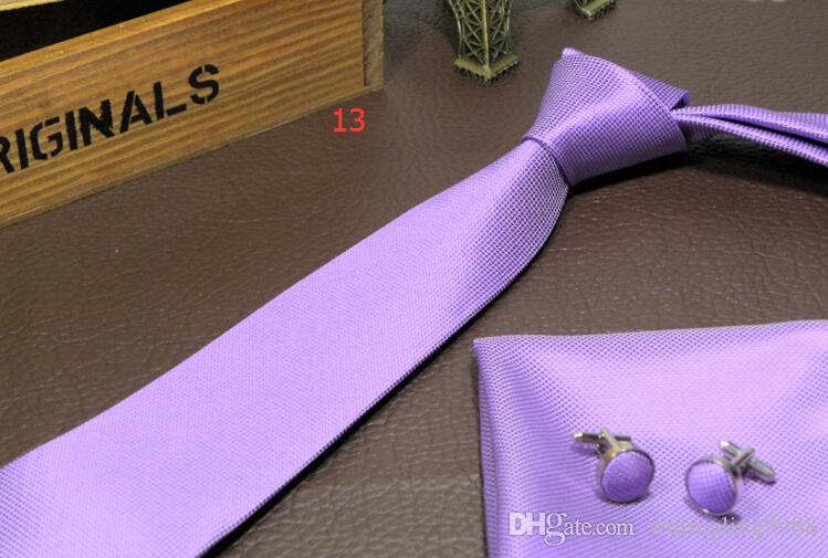 Sıcak satış Moda Katı renk Ipek Boyun Kravatlar Erkekler Kravatlar Için üç parçalı takım El Yapımı Düğün Kravatlar 145 cm genişlik 8 cm 15 Renkler