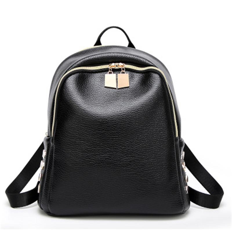 f7e1c49d9a Backpacks For Teenage Girls Women S PU Leather Backpack Black Bag With  Rivets Woman Teenager School Casual Travel Back Pack Sac Backpacks For Men  Jansport ...