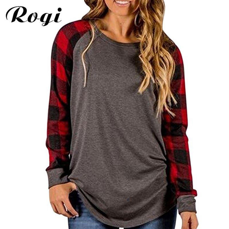0612d67a Rogi Plus Size Female T Shirt 2018 Plaid Raglan T Shirts For Women Long Sleeve  O Neck Ladies Baseball Tops Camiseta Mujer S 5XL Printed Shirts Design  Shirts ...