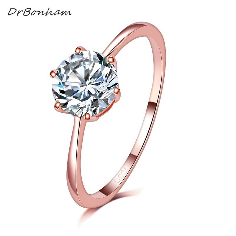 9c3ba1217 2019 High Quality Elegant 1.2ct Rose Gold Color Large CZ Zircon Stone Rings  6 Prong Bridal Wedding Ring Women Wholesale DR1734 From Loquat18, ...
